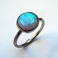 MADE-TO-ORDER Opal Silver Ring Turquoise Ring, Stacking,Engagement Ring, October Birthstone, Bridal Jewelry, Blue Stone