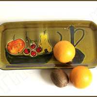 Mid century ceramic French fruit plate. hand painted earthenware. Poët-Laval, France. 1960s