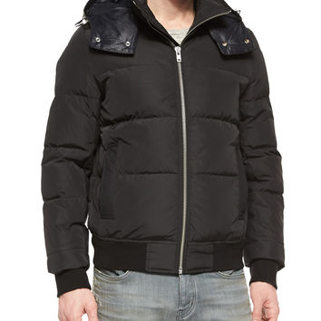 Puffer Jacket with Leather Hood, Black, Size: