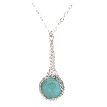 Turquoise pendant necklace , small turquoise coin crocheted in SILVER
