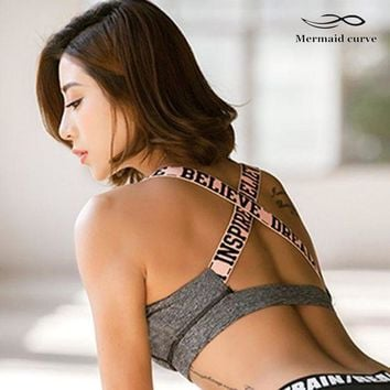 LMFLD1 Mermaid Curve 2017 New Letter Sports Bra With Padding Women Breathable Fitness Stretch Underwear Push Up Gym Yoga Bras