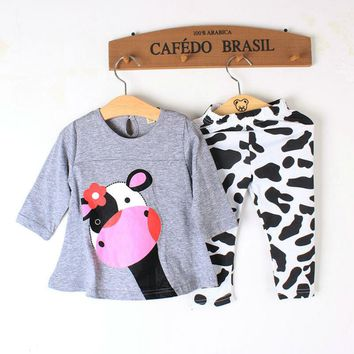 New Year Baby Clothing Girls Sets Long Sleeve Spring Summer 2pcs Suits Newborn Costume Cute Cow Pattern Kids Children Outfits