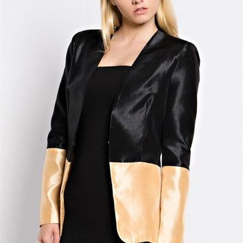 Color Block Satin Blazer