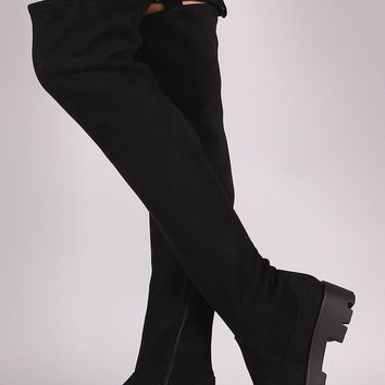 Bamboo Suede Elastic Strap Lug Sole Over-The-Knee Platform Boots