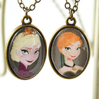 Disney Frozen - Elsa and Anna Necklace - Double Sided Necklace - Disney Princess - Sister Necklace - Coronation