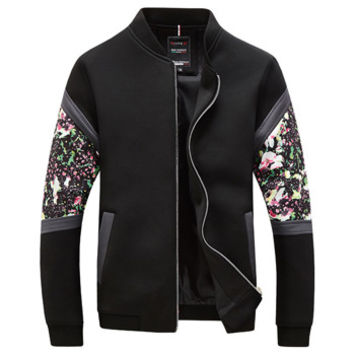 Men Floral Zipper Veste Homme Jakcets Jaqueta Masculina Men's Casual Slim Fit Large Size Jackets Outwear Men SM6