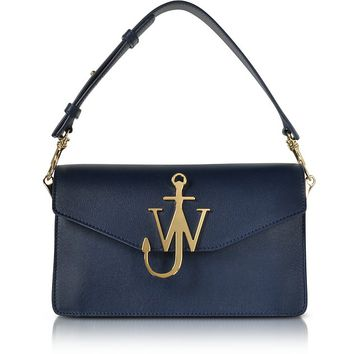 JW Anderson Navy Blue Leather Logo Purse