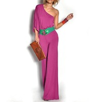 Asymmetric Sleeve Design Stretchy Fashion Jumpsuit for Lady