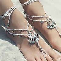 Free People Womens Macrame Anklet Duo
