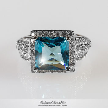 Kara Aqua Blue Princess Cut Halo Cocktail Ring | 7 Carat | Cubic Zirconia