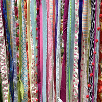 Boho Fabric Garland Curtain Backdrop - Teen Room, Curtain, Decor - Hippie, Gypsy, Indie  - 4 ft x 7 ft