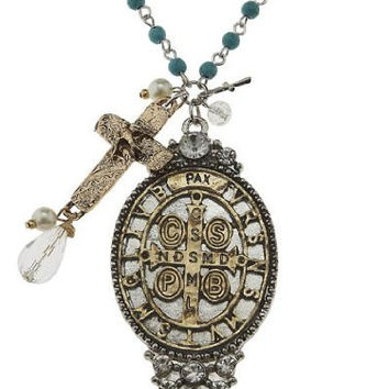 Gold & Silver Artisan Epoxy San Benedict Necklace with Turquoise Beads, Rhinestones, Cross Charms