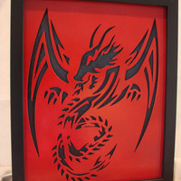 Red Dragon Framed Metal Art