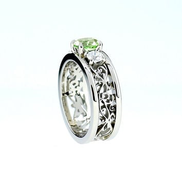 Peridot and diamond filigree engagement ring, wide filigree band, white gold, green engagement, custom, peridot wedding, vintage style ring