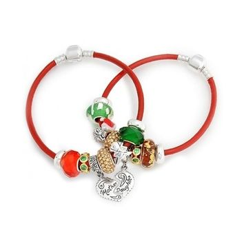 Mother Daughter Heart Bead Charms Bracelet Set Red 925 Sterling Silver