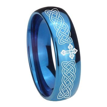 8MM Glossy Blue Dome Celtic Cross Tungsten Carbide Laser Engraved Ring