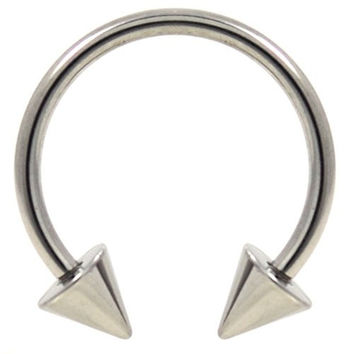 "16G(1.2mm) Stainless Steel Circular Piercing Barbells Horseshoe Rings w/Spike Ends (Sold in Pairs) (16 Gauge 7/16"")"