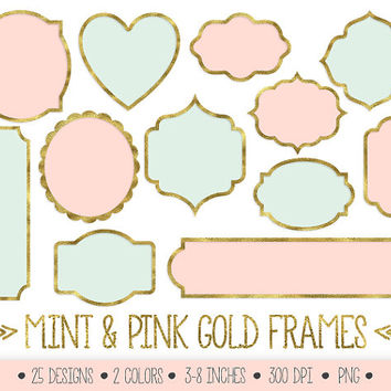 SALE - 70% OFF. Gold Frames Clipart. Mint and Gold Glitter Foil Labels Clip Art. Sparkly Scrapbook Borders. Metallic Golden Digital Frames.