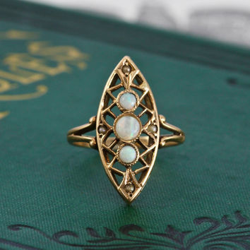 Victorian Opal & Pearl Navette Ring, Antique 10k Yellow Gold, Bohemian Alternative Engagement Statement Bridal Jewelry, October Birthstone