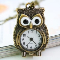 cool bronze owl antique quartz pocket watch with chain