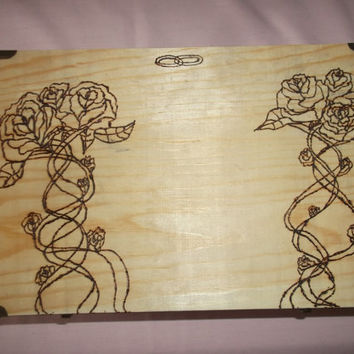 Wooden Wedding Box Card Money Keepsake  with Wood Burned Roses Ribbons and Wedding Bands Can Be Perspnalized