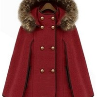 Burgundy Wine Brown Gold Long Sleeve Faux Fur Trim Hooded Double Breasted Button Cape Coat