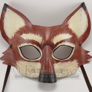 Fox Mask, Masquerade Mask, Masked Ball, Animal Mask, Handmade Leather, Red Fox Costume, Fox Fursona, Cosplay Costume, Fox Spirit Animal