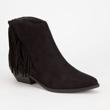 Soda Volley Fringe Womens Booties Black  In Sizes