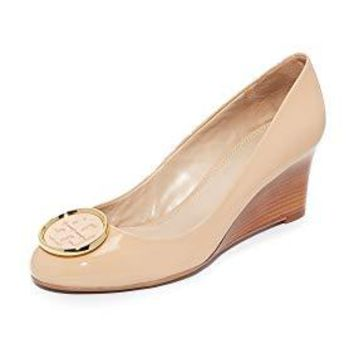 Tory Burch Twiggie 65MM Wedge Shoes, Patent Leather, Light Oak Size 8