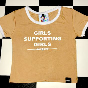 SWEET LORD O'MIGHTY! GIRLS SUPPORTING GIRLS RINGER TEE
