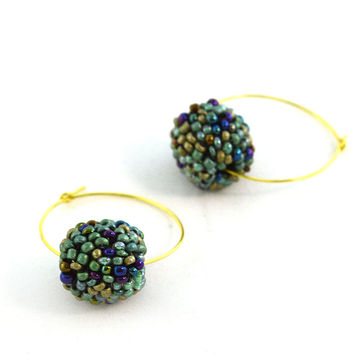 Beaded Green Hoops Dangle Golden Tone Earrings