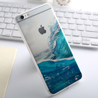 Fashion Beach Ocean Waves Transparent Back Thin Soft Silicone Case For iphone 5 5s SE 6 6s 6 plus 6s plus + Nice gift box 072301