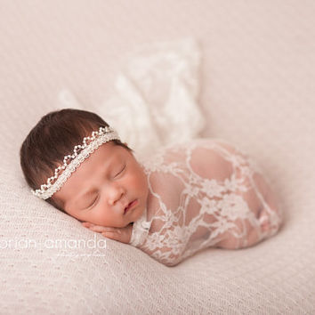 Lace Wrap, Ivory Stretch Wrap, Newborn Lace Wrap, Baby Girl Prop, Newborn Photo Prop, Baby Swaddle