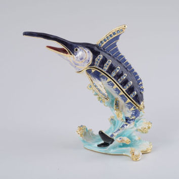 Swordfish in the Sea Faberge Styled Trinket Box Decorated with Swarovski Crystals Handmade by Keren Kopal