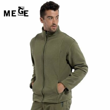 MEGE Tactical Stand Collar Autumn Winter Thermal Cloth Outdoor Hunting Fleece Jackets Military Sports Hiking Outerwear Coat