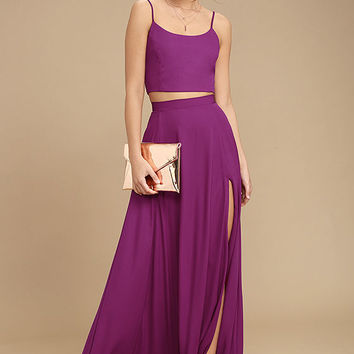 Thoughts of You Magenta Two-Piece Maxi Dress