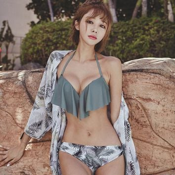 New Korean Style Sexy Bikini 3 Pieces Cover Up Swimming Suit Hasp Bathing Suit Women Halter Underwire Push-Up Ruffer Swimwear