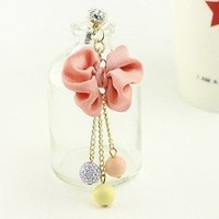 New Mobile Accessories Pink Bow Three Crystal Beads Cell Charms Dust Plug Ear Jack For Iphone 4 4S / Samsung / iPad / iPod Touch / Other 3.5mm Ear Jack