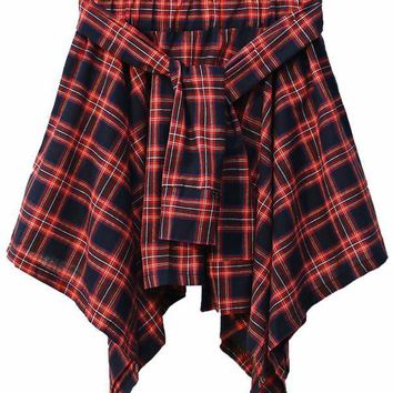 Flannel Wrap Mini Skirt