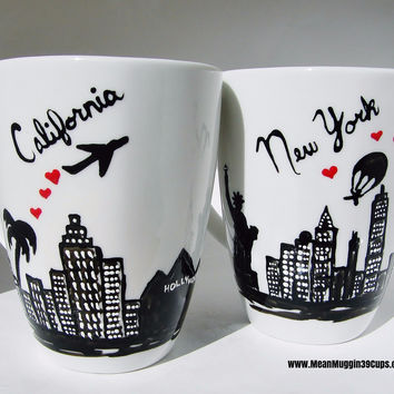 Long Distance Relationship Mug - Enter Any City/State Set of 2 FREE SHIP 2+