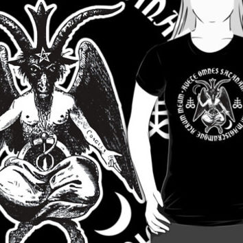 Baphomet & Satanic Crosses with Hail Satan Inscription T-Shirt. Women's occult goth tee shirt. pagan clothing tops