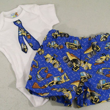 Baby Boy Onsie Set-Baby shower gift--Diaper Cover and Onsie-with tie-#406