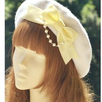Princess sweet lolita beret [bud hat] hand made multicolored velvet velvet bow wool painter snow cake Lolita bud cap MHT004