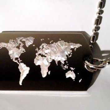 World MAP Globe Planet Mother Earth Logo Symbols - Military Dog Tag Luggage Tag Key Chain Metal Chain Necklace