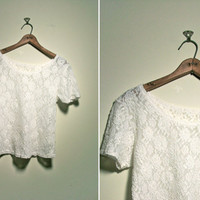 1990s white lace baby doll tee
