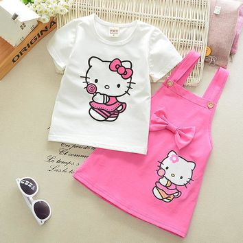 1-6 Years Girls Clothes Girl Dress Summer 2017 New Kids Dresses for Girls Hello Kitty Cartoon Lovely Toddler Girl Dresses Z10