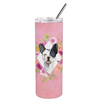 Black and White Frenchie Pink Flowers Double Walled Stainless Steel 20 oz Skinny Tumbler CK4260TBL20