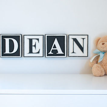 5 inch tall Personalized Letter blocks nursery name blocks wooden alphabet blocks custom baby name plaque baby name sign wall letters