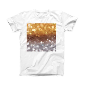 The Unfocused Silver and Gold Glowing Orbs of Light ink-Fuzed Front Spot Graphic Unisex Soft-Fitted Tee Shirt