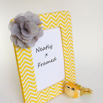 Yellow and White Chevron Picture Frame - Gray Flower Picture Frame - Yellow Picture Frame - Picture Frame
